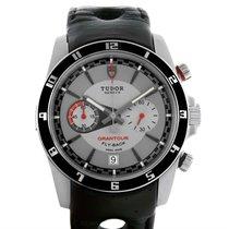 Tudor Grantour Grey Dial Black Leather Strap Steel Watch...