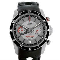 Tudor Grantour Grey Dial Black Leather Strap Steel Watch...