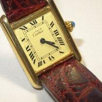 Cartier 18K Vermeil Roman Tank Watch w Cartier Band & Buckle