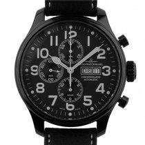 Zeno-Watch Basel Blacky Chrono Day Date Stahl PVD schwarz...