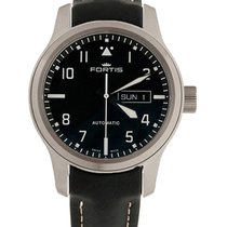 Fortis Aviatis Aeromaster Steel Auto Swiss Watch Black Strap...