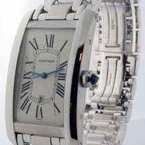 Cartier Large Tank Americaine 18k White Gold Automatic Mens...