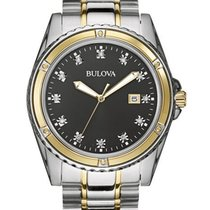 Bulova Mens 12 Diamond Dress Watch - Black Dial - Two-Tone...