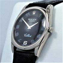 Rolex Cellini Danaos 4233 18k White Gold Black Dial Leather...