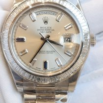 Rolex Day-date White gold 41 with baguette cut diamond bezel...