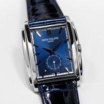Patek Philippe Gondolo Men's White Gold Watch Blue Leather...