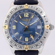 Breitling Antares World GMT Stahl Gold Klassiker blue Dial...