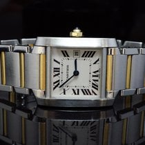 Cartier 2003 Mid Size Tank Française, Steel & Gold, Box...
