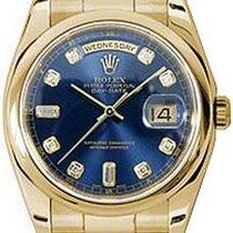 Rolex Day-Date 36 118208-BLUDDO Blue Diamond Yellow Gold...
