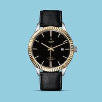 Tudor Style 41mm, geriffelte Lünette, Stahl/Gold, Lederband -NEU-