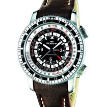 Fortis B-47 Calculator Gmt 3 Time Zones Wr Brown  Leather...