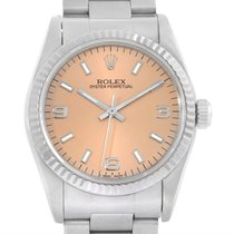 Rolex Midsize Steel 18k White Gold Salmon Dial Watch 67514