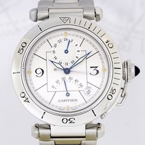 Cartier Pasha Date GMT Power Reserve Silver Dial Top Stahlband