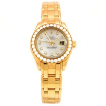 Rolex Pre-owned 29mm 18k Yellow Gold Rolex Pearlmaster Watch.