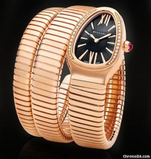 Bulgari Pink Gold Serpenti Snake Diamond Watch SPP35BGDG.2T