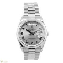 Rolex Day-Date Silver Roman Numerals Dial 18k White Gold...