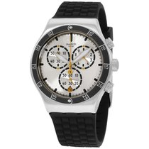 Swatch Irony Jump High Silver Dial Silicone Strap Men's...