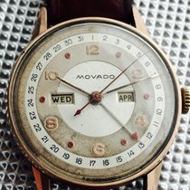 Movado Calendograph 1950 with 6 rubies as hours markers on the...