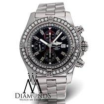 Breitling Super Avenger A13370 Black Dial Diamond Bezel...