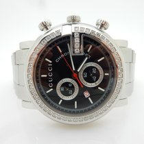 Gucci 101M Chrono .80cttw Diamond Bezel Stainless Steel Watch Y