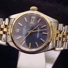 Rolex Date 2tone 14k Yellow Gold/ss Watch W/blue Dial 1500