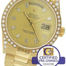 Rolex Day-Date President 36mm 18138 18K Yellow Gold Diamond Watch