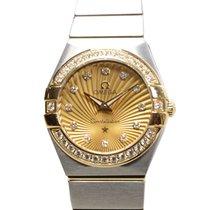 Omega Constellation 18k Gold Diamond Steel Gold Quartz...