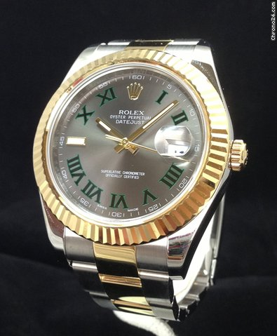 Rolex DateJust II Green Dial 41mm Two Tone 116333