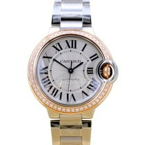 Cartier Ballon Bleu WE902080 Ladies Midsize Silver Diamond 18k...