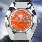 Citizen Day Date 19 Jewels Automatic Mens Vintage Orang...