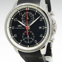 IWC Portuguese Yacht Club Chronograph Steel Black Dial Watch...