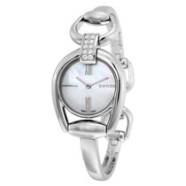 Gucci Horsebit Small Whte Mother of Pearl Dial Ladies Watch...