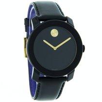 Movado Bold Mens Black Leather Band Swiss Quartz Watch 3600046