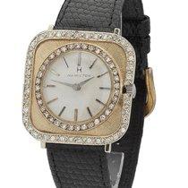 Hamilton Watch - 14K - Circa 1950s - Diamond - Black Strap