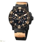 Ulysse Nardin Black Sea Chronograph Gold Hands Men`s Watch