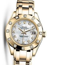 Rolex 80318 Pearlmaster White MOP Diamond Dial Yellow Gold