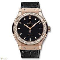Hublot Classic Fusion Automatic 18K King Gold Leather Diamonds...