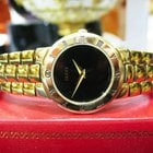 Gucci Ref. 3300.2.l Gold Plated Black Dial Roman Numeral Watch
