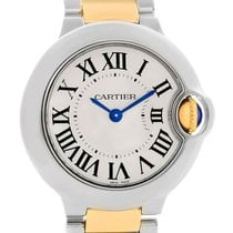 Cartier Ballon Blue Steel 18k Yellow Gold Small Watch W69007z3