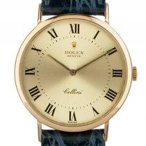 Rolex Cellini Classic 18kt Gelbgold Handaufzug Armband Leder...
