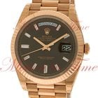 Rolex Day-Date 40mm President, Chocolate Baguette Dial, Fluted...
