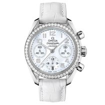 Omega Speedmaster Steel MOP Dial Diamond Bezel Ladies Watch...