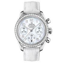 Omega Speedmaster Steel MOP Dial Diamond Bezel Ladies Watch...