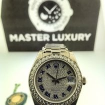 Rolex 81299 Datejust Pearlmaster Pave Roman Blue Enamel Dial WG