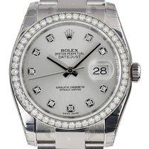 Rolex DATEJUST 36mm 18K White Gold Diamond Bezel Diamond Dial