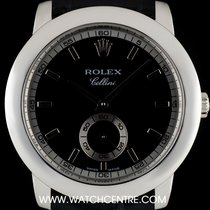 Rolex Platinum Black & Silver Baton Dial Cellini B&P...