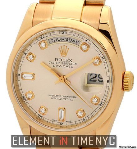 Rolex Day-Date Pink Gold Pink Diamond Dial On Oyster Bracelet