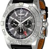 Breitling Chronomat GMT Black Dial Black Leather Mens W...