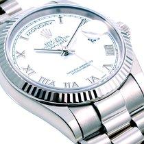 Rolex Mens 18k White Gold President White Roman  - 118239