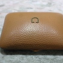 Omega vintage watch box leather light brown metal logo